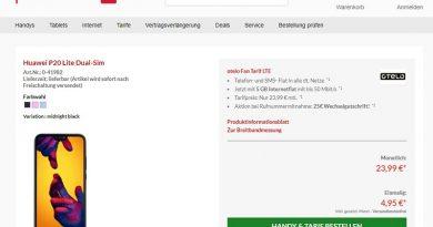 Huawei P20 Lite für einmalig 4,95 € + 3 GB Handyvertrag (LTE 50 Vodafone-Netz) für 23,99 € monatlich