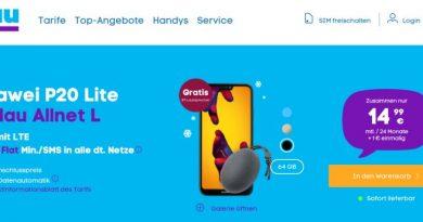 Huawei P20 Lite für 1 € + 3 GB Allnet Flat (für 14,99 € monatl. + einmalig 4,99 €) + Bluetooth Lautsprecher