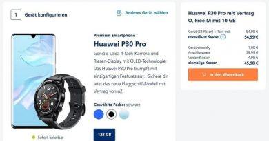 Huawei P30 Pro + Huawei Watch GT für einmalig 1 € + 10 GB Handyvertrag (LTE o2-Netz) für 54,99 € monatlich + 45,98 € einmalig