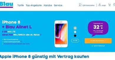 iPhone 8 inkl. Allnet Flat (o2-Netz) für 32,99 € mtl. + 5,99 € einmalig